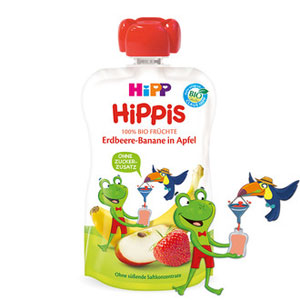 HiPP HiPPiS Piure de fructe – Căpşuni – Banană în Măr (100g) / Broasca Frankie