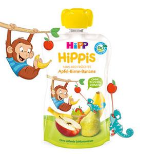 HiPP HiPPiS Piure de fructe - Măr, Pară, Banană (100g) / Maimuţa Matt