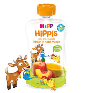 HiPP HiPPiS Piure de fructe – Mar-mango cu piersică (100g) / Ţapul Benjamin